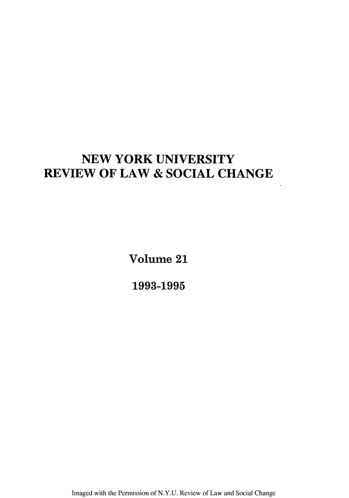 handle is hein.journals/nyuls21 and id is 1 raw text is: NEW YORK UNIVERSITY