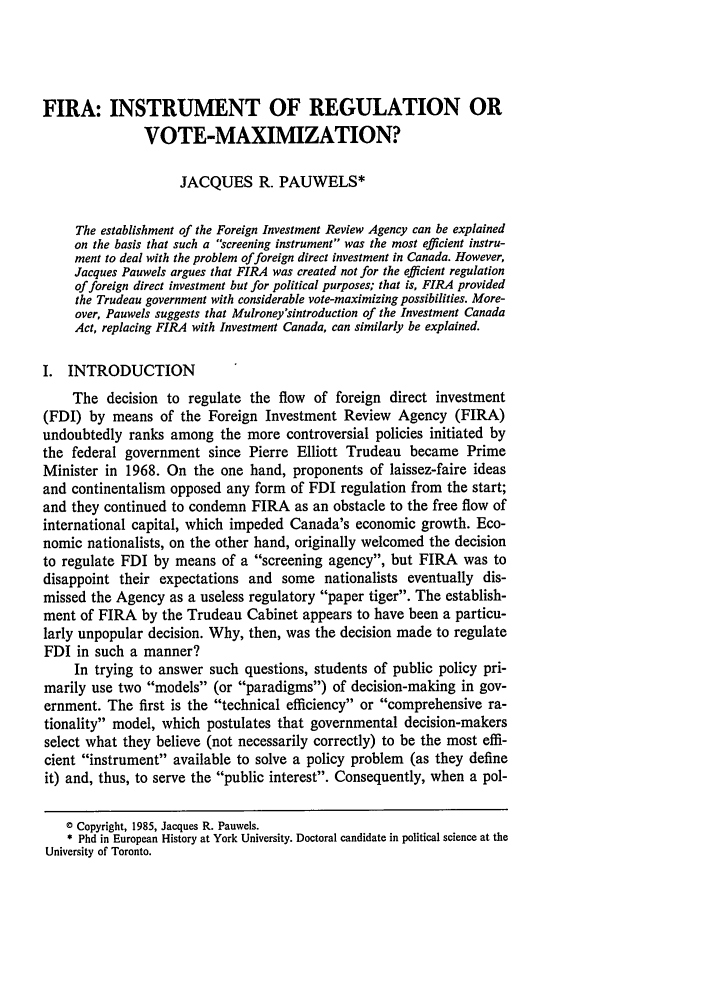 handle is hein.journals/ohlj23 and id is 141 raw text is: FIRA: INSTRUMENT OF REGULATION OR