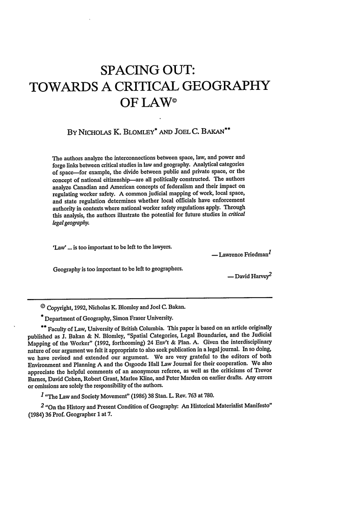 handle is hein.journals/ohlj30 and id is 669 raw text is: SPACING OUT: