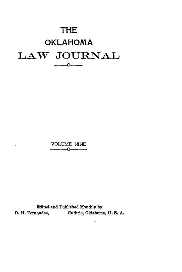 handle is hein.journals/oklj9 and id is 1 raw text is: THE