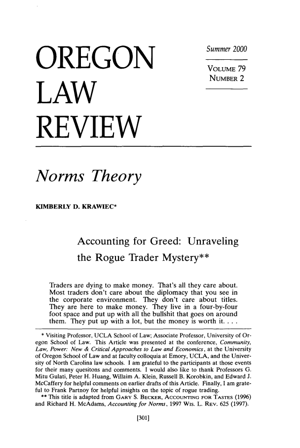 handle is hein.journals/orglr79 and id is 313 raw text is: OREGON                                               Summer 2000