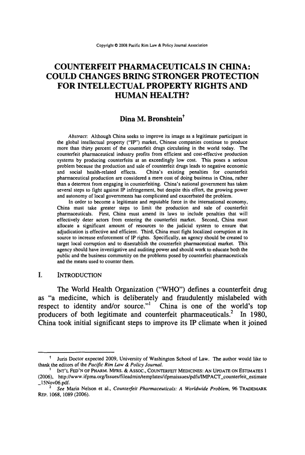 handle is hein.journals/pacrimlp17 and id is 445 raw text is: Copyright © 2008 Pacific Rim Law & Policy Journal Association
