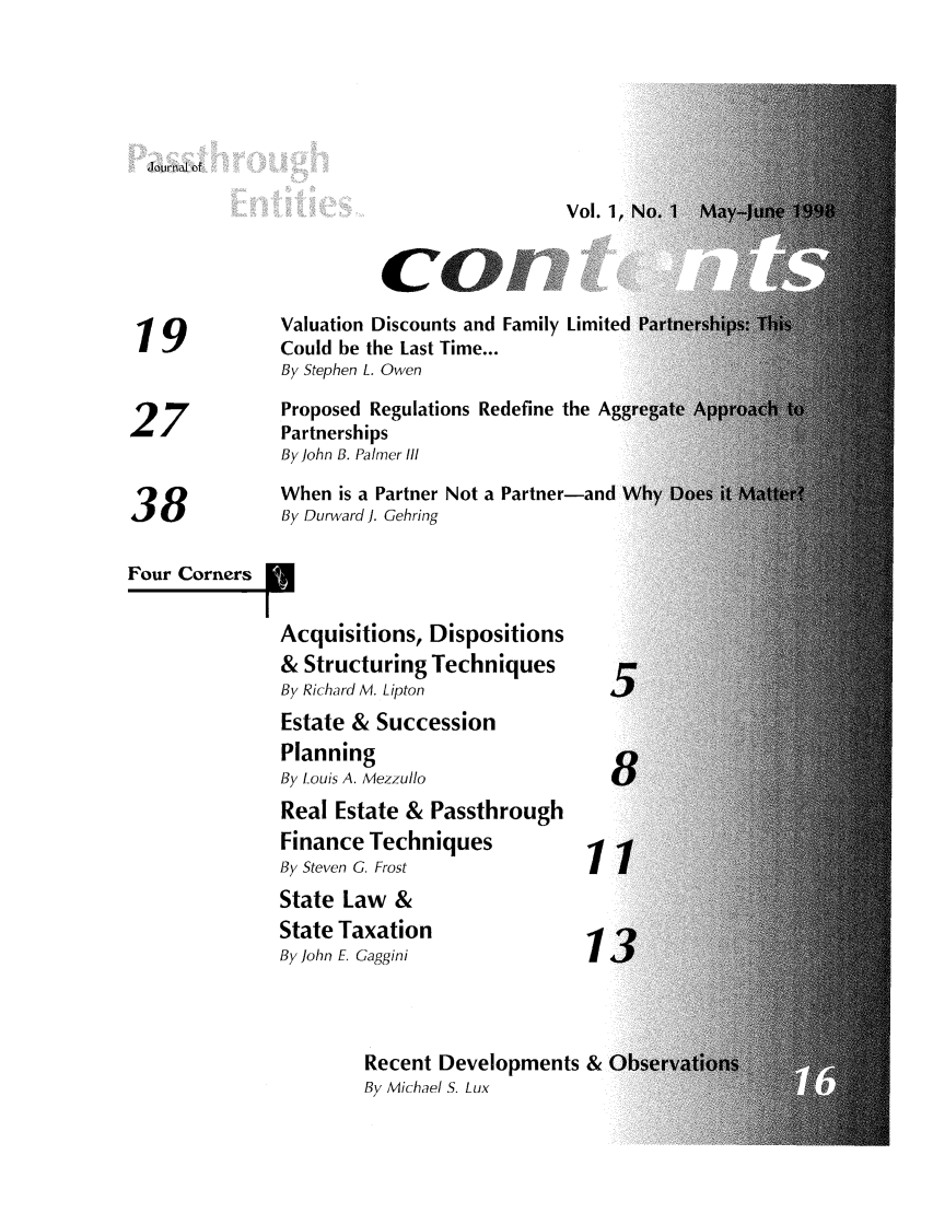 handle is hein.journals/passtent1 and id is 1 raw text is: 'journal of