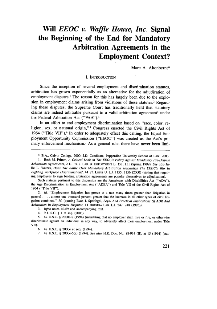 Will Eeoc V Waffle House Inc Signal The Beginning Of The End Of