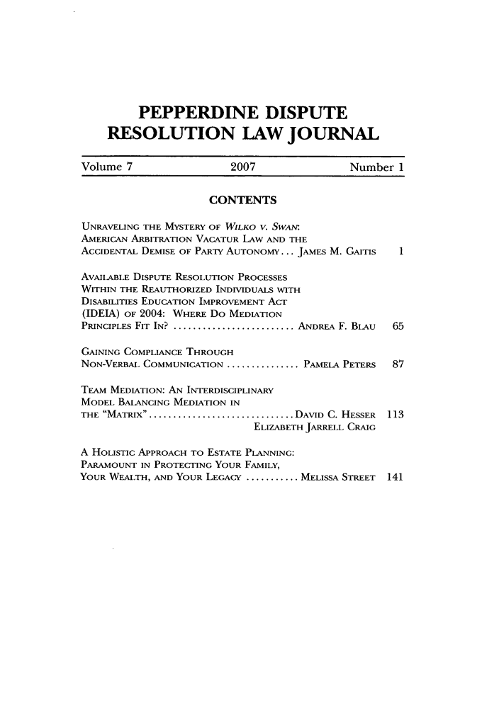 handle is hein.journals/pepds7 and id is 1 raw text is: PEPPERDINE DISPUTE