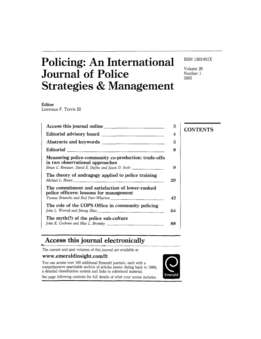 handle is hein.journals/polic26 and id is 1 raw text is: Policing: An International