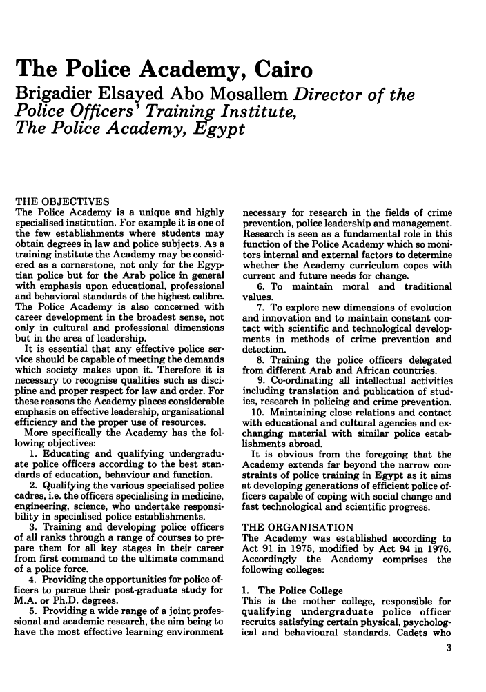 The Police Academy, Cairo 3 Police Studies: The ...