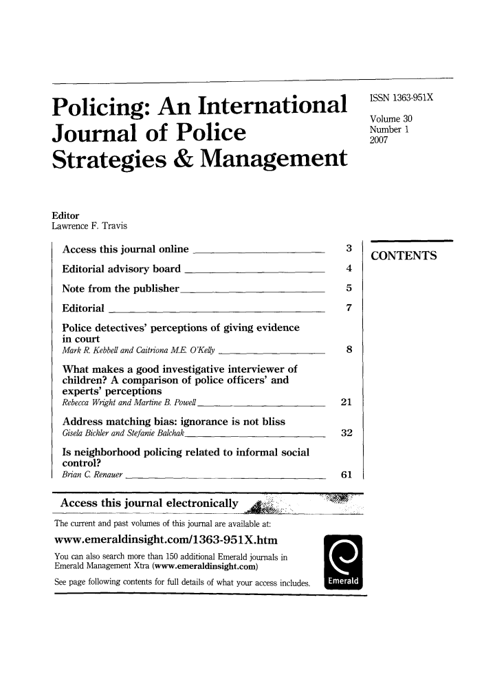 handle is hein.journals/polic30 and id is 1 raw text is: Policing: An International       111_9X