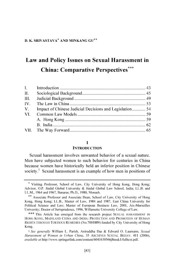handle is hein.journals/porril11 and id is 47 raw text is: D. K. SRIVASTAVA* AND MINKANG GU**