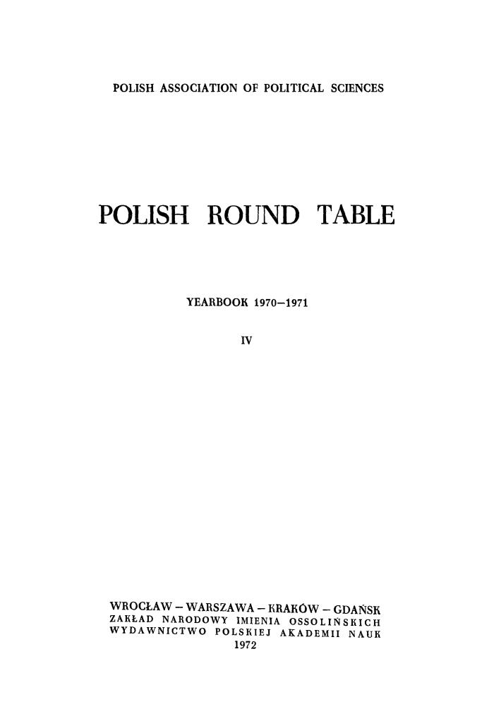 Polish Round Table.Polish Round Table V 4