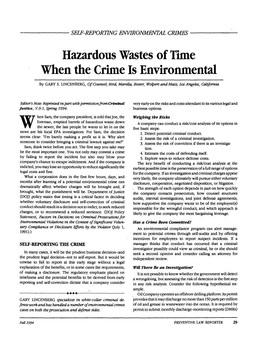 handle is hein.journals/prevlr13 and id is 125 raw text is: SELF-REPOR77NG ENVIRONMENTAL CRIMES
