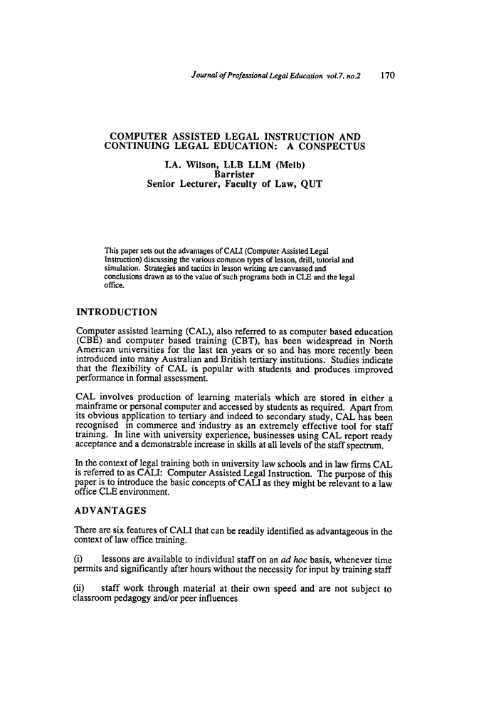 Computer Assisted Legal Instruction and Continuing Legal