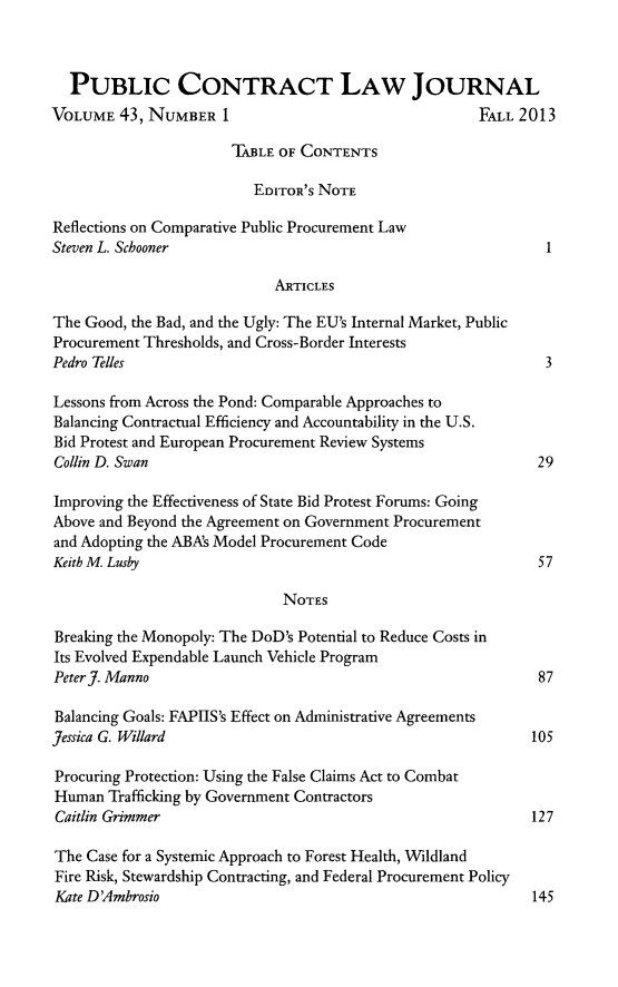 Public Contract Law Journal V 43