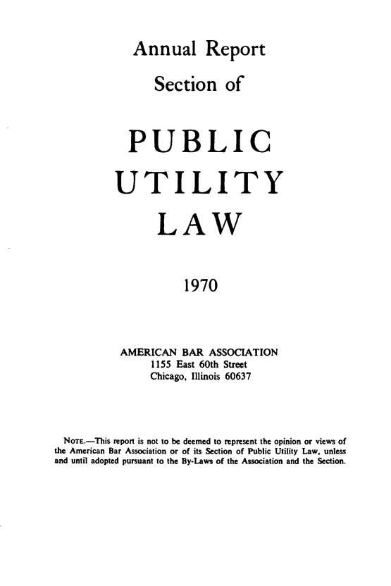 handle is hein.journals/pubutili58 and id is 1 raw text is: Annual Report