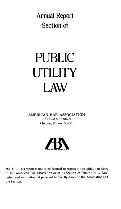 handle is hein.journals/pubutili62 and id is 1 raw text is: Annual Report