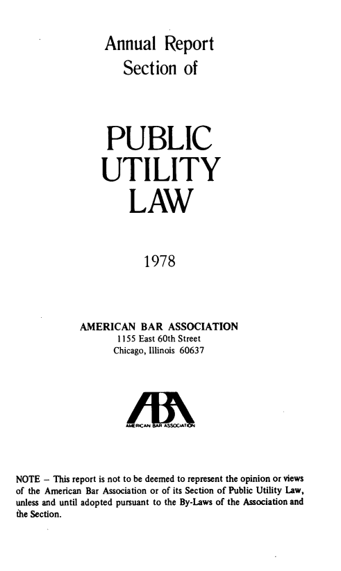 handle is hein.journals/pubutili66 and id is 1 raw text is: Annual Report