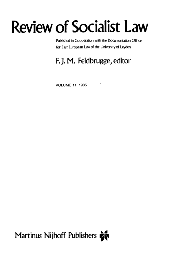 handle is hein.journals/rsl11 and id is 1 raw text is: Review of Socialist Law