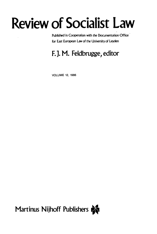 handle is hein.journals/rsl12 and id is 1 raw text is: Review of Socialist Law