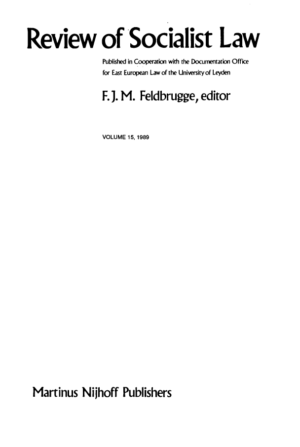 handle is hein.journals/rsl15 and id is 1 raw text is: Review of Socialist Law