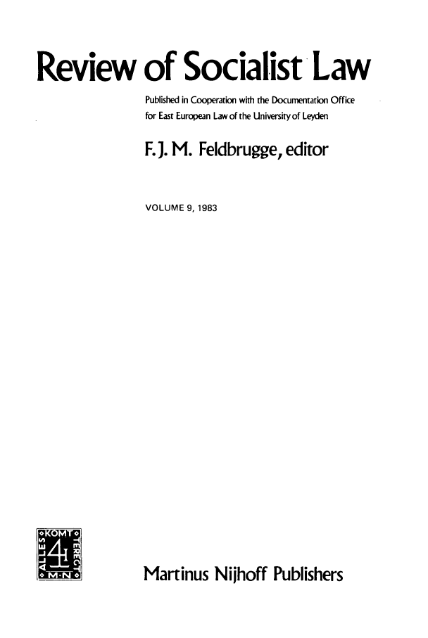 handle is hein.journals/rsl9 and id is 1 raw text is: Review of Socialist Law
