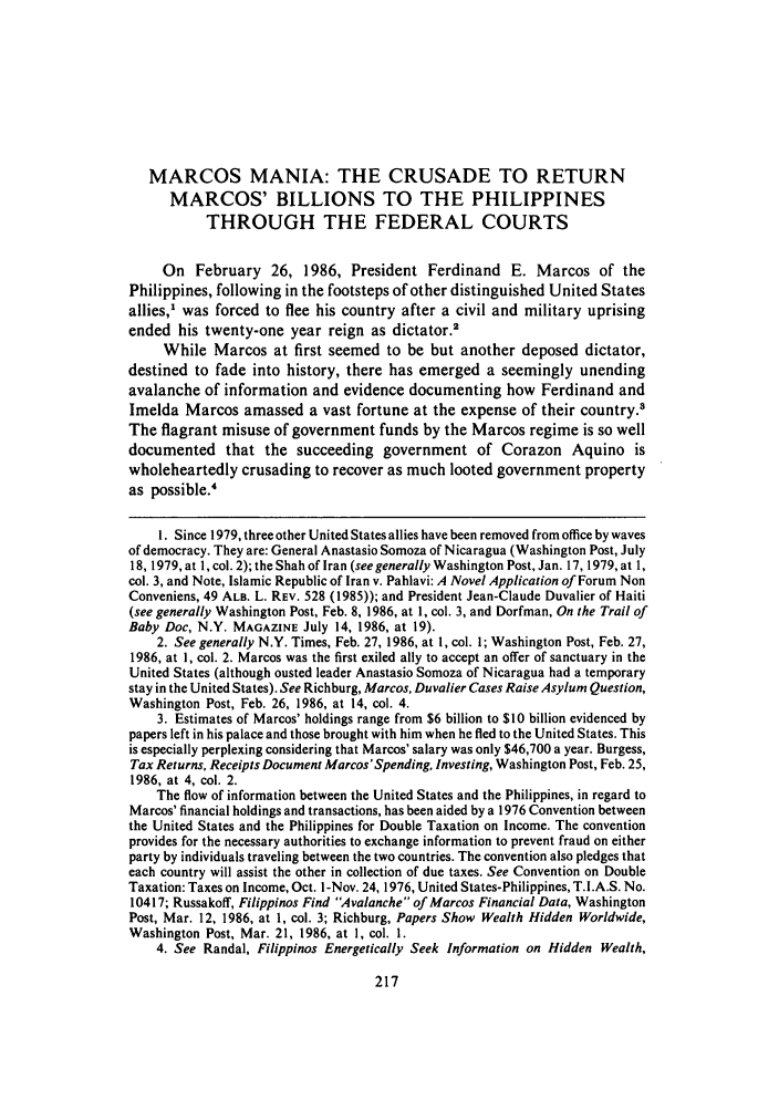 handle is hein.journals/rutlj18 and id is 227 raw text is: MARCOS MANIA: THE CRUSADE TO RETURN