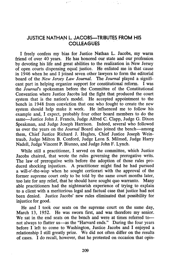 handle is hein.journals/rutlr28 and id is 219 raw text is: JUSTICE NATHAN L. JACOBS-TRIBUTES FROM HIS
