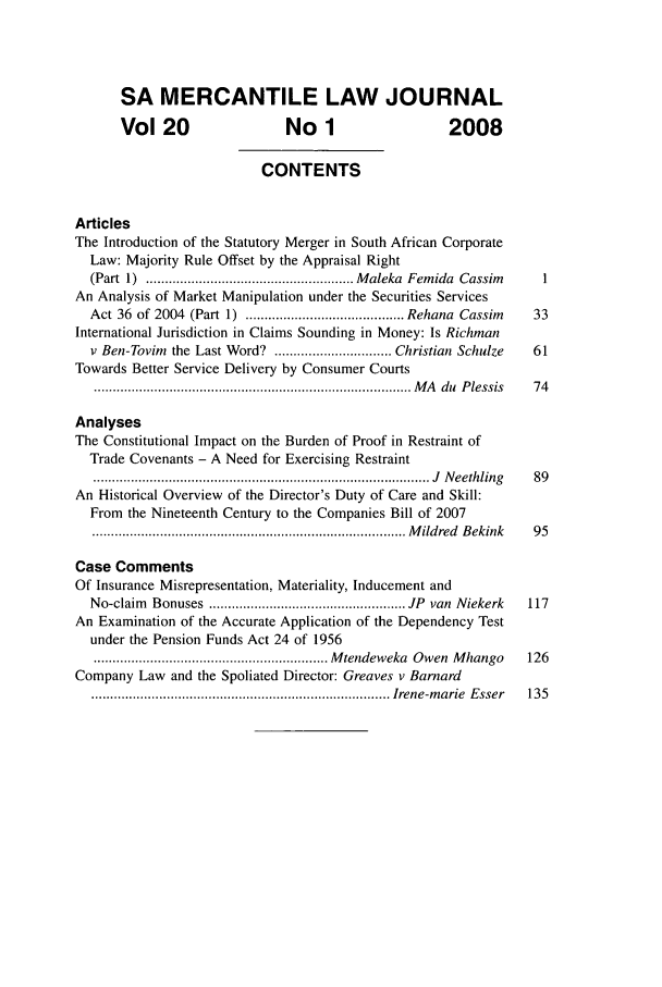 South African Mercantile Law Journal V  20