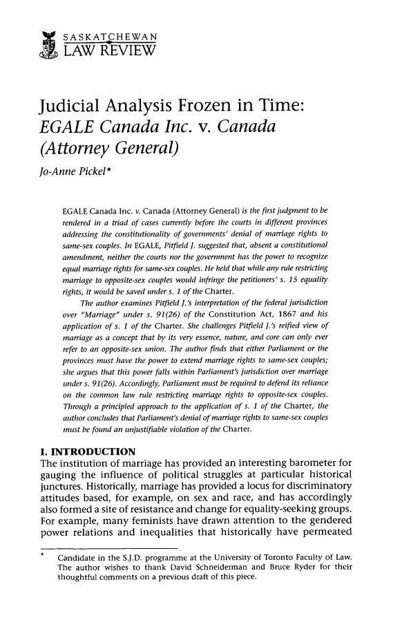 65 Saskatchewan Law Review 2002 Judicial Analysis Frozen in Time ...
