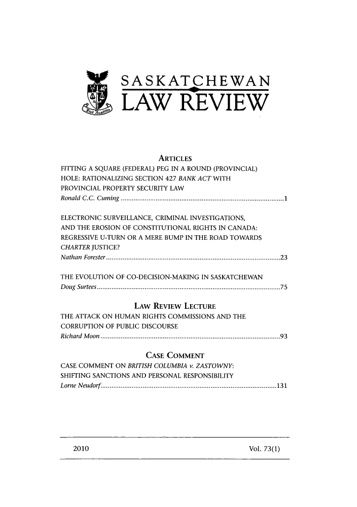 Saskatchewan Law Review V  73