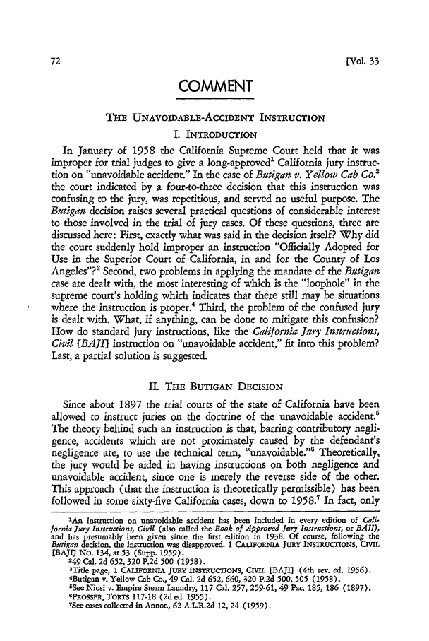 The Unavoidable-Accident Instruction Comment 33 Southern California