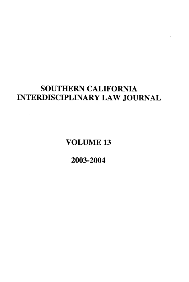 handle is hein.journals/scid13 and id is 1 raw text is: SOUTHERN CALIFORNIA