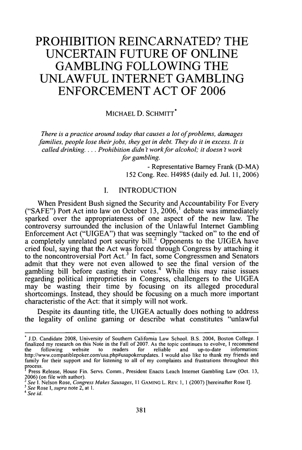 handle is hein.journals/scid17 and id is 385 raw text is: PROHIBITION REINCARNATED? THE