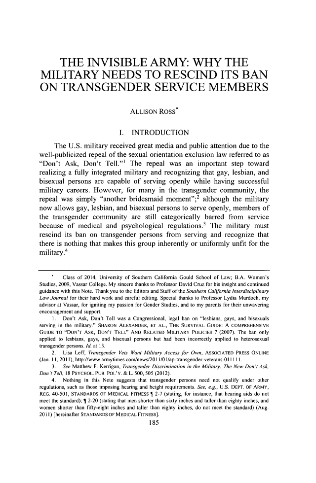 handle is hein.journals/scid23 and id is 195 raw text is: THE INVISIBLE ARMY: WHY THE