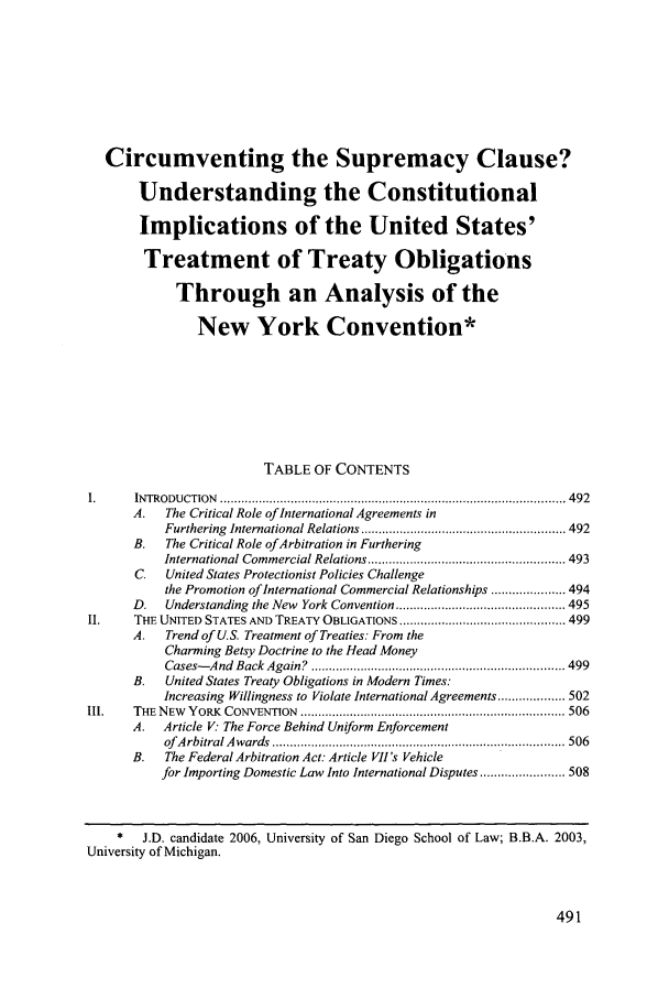 handle is hein.journals/sdintl7 and id is 497 raw text is: Circumventing the Supremacy Clause?