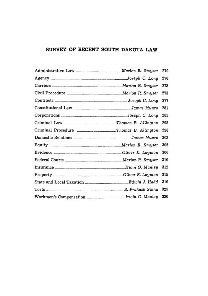 Survey of Recent South Dakota Cases 12 South Dakota Law
