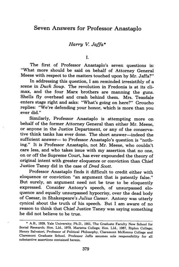 handle is hein.journals/sealr13 and id is 387 raw text is: Seven Answers for Professor Anastaplo