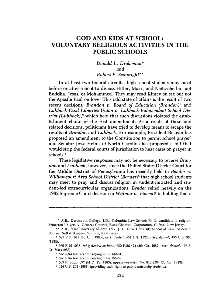 handle is hein.journals/shlr14 and id is 268 raw text is: GOD AND KIDS AT SCHOOL: