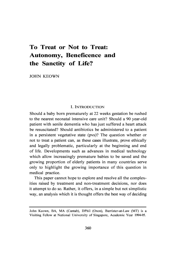To Treat or Not to Treat: Autonomy, Beneficence and the