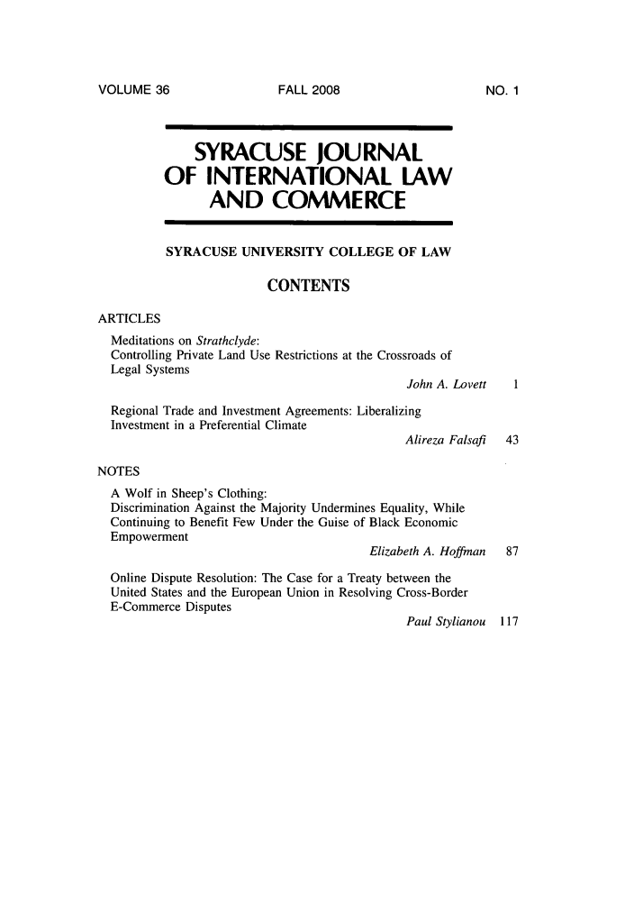 handle is hein.journals/sjilc36 and id is 1 raw text is: VOLUME 36