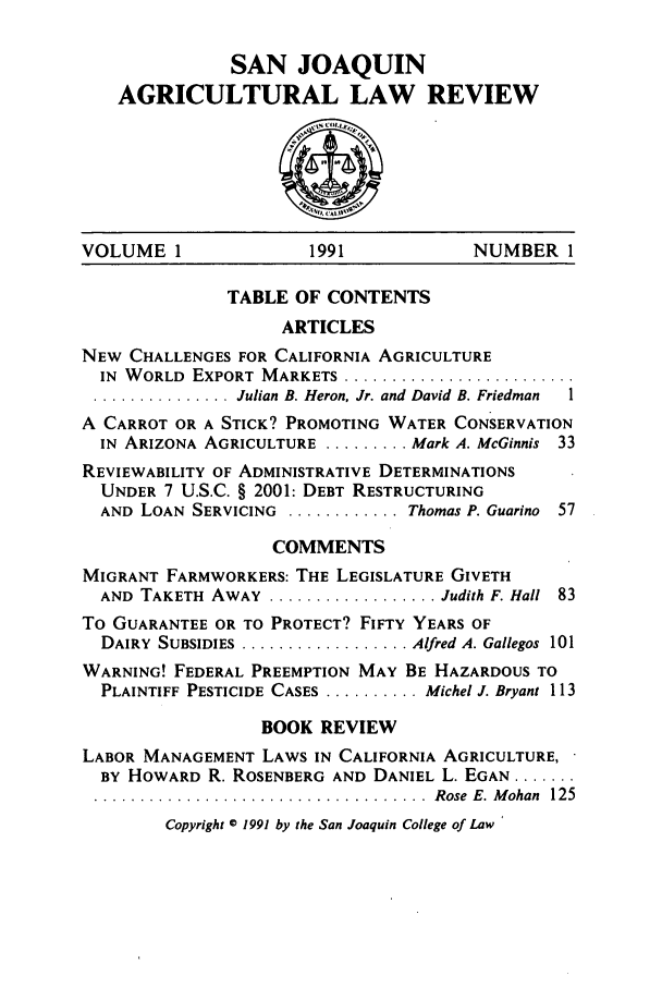 handle is hein.journals/sjlar1 and id is 1 raw text is: SAN JOAQUIN