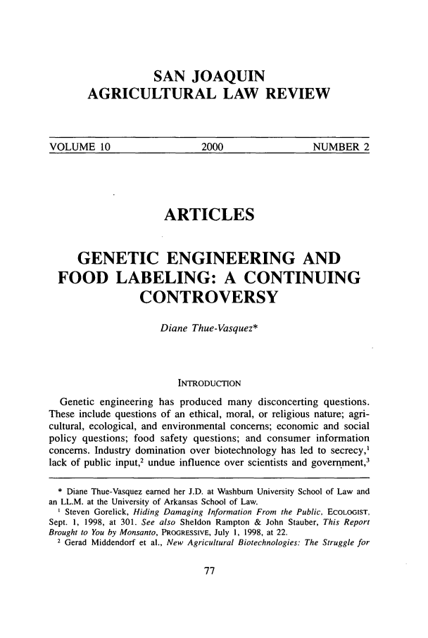 10 San Joaquin Agricultural Law Review 2000 Genetic Engineering ...