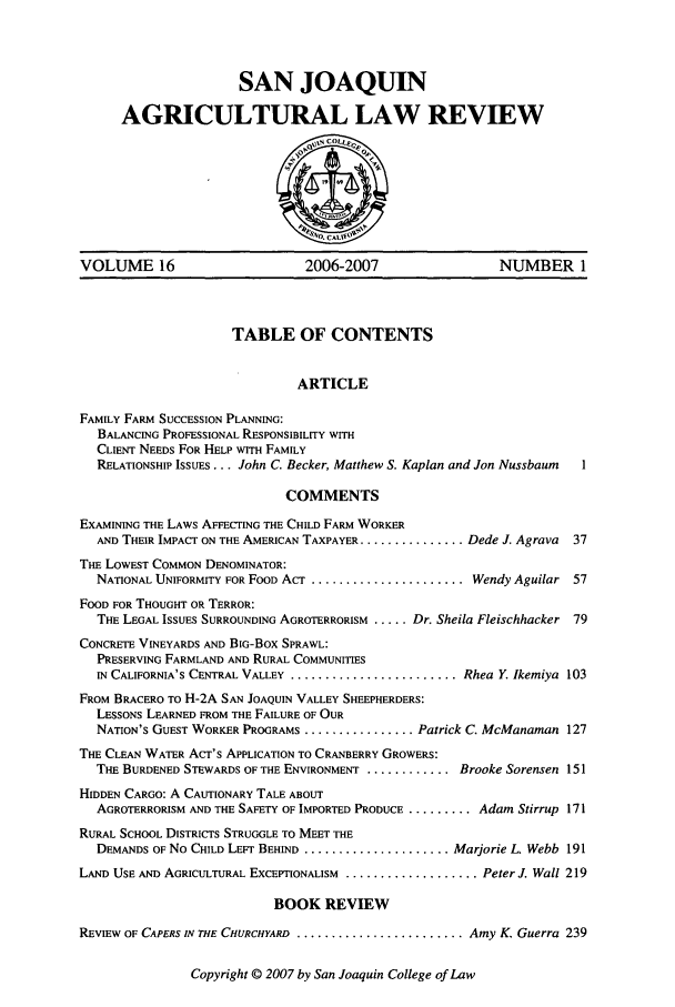 handle is hein.journals/sjlar16 and id is 1 raw text is: SAN JOAQUIN