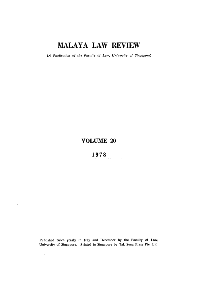 handle is hein.journals/sjls20 and id is 1 raw text is: MALAYA LAW REVIEW