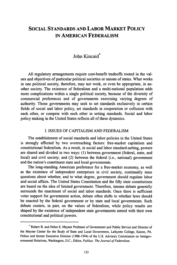 handle is hein.journals/slwtlj1995 and id is 139 raw text is: SOCIAL STANDARDS AND LABOR MARKET POLICY