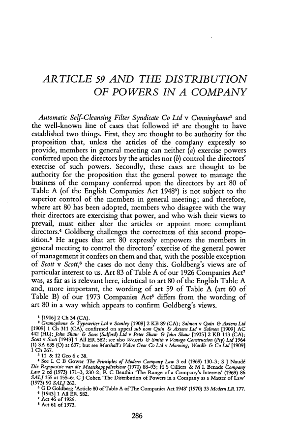 Article 59 and the Distribution of Powers in a Company 92