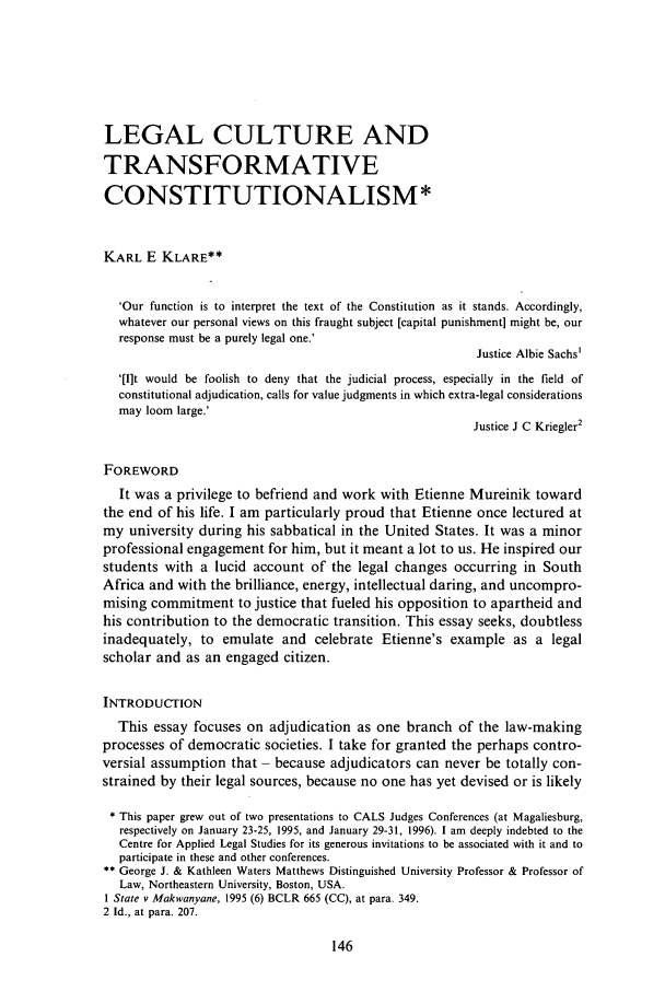 handle is hein.journals/soafjhr14 and id is 156 raw text is: LEGAL CULTURE AND