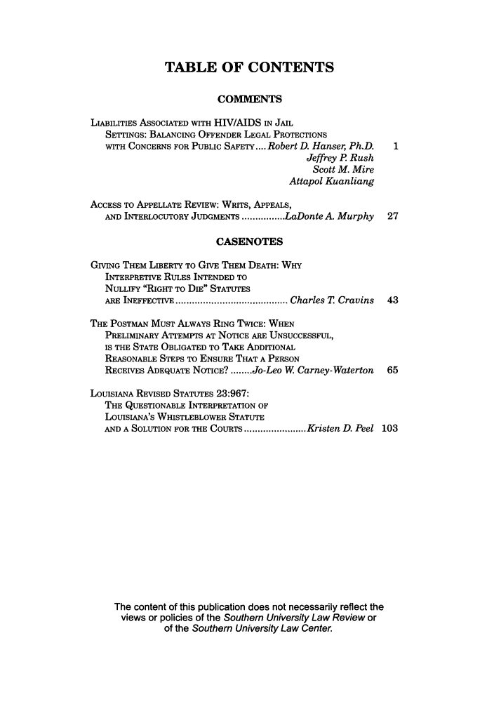 handle is hein.journals/soulr34 and id is 1 raw text is: TABLE OF CONTENTS