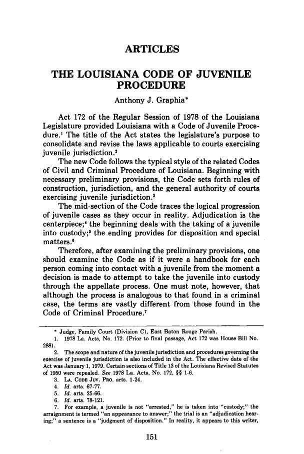 The Lousiana Code of Juvenile Procedure 5 Southern ...