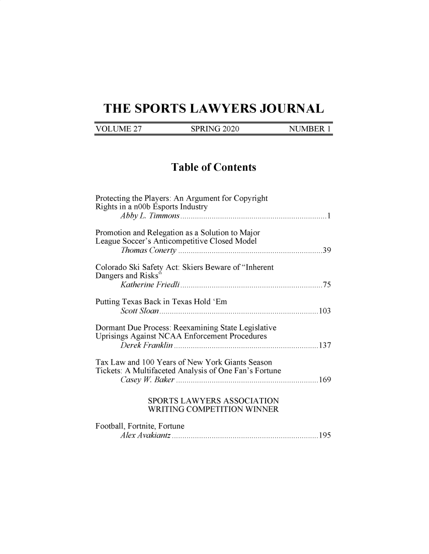 handle is hein.journals/sportlj27 and id is 1 raw text is: 