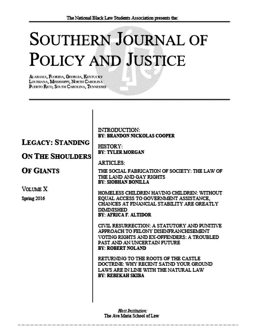 Southern Journal of Policy and Justice V  10